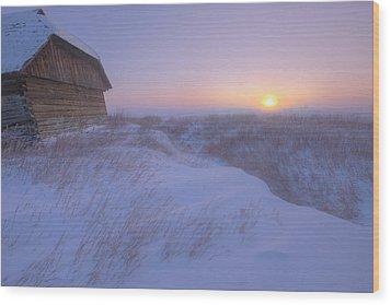 Sunrise On Abandoned, Snow-covered Wood Print by Dan Jurak