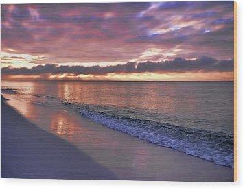 Sunrise On Navarre Beach Wood Print