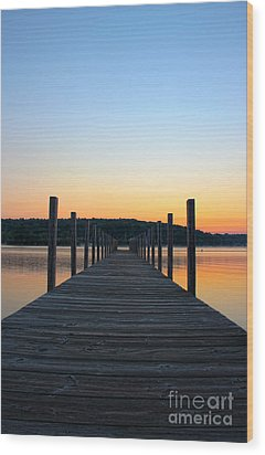 Sunrise On The Docks Wood Print by Michael Mooney