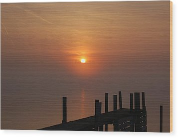 Sunrise On The River Wood Print by Randy J Heath