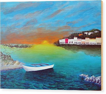 Wood Print featuring the painting Sunrise On The Riviera by Larry Cirigliano