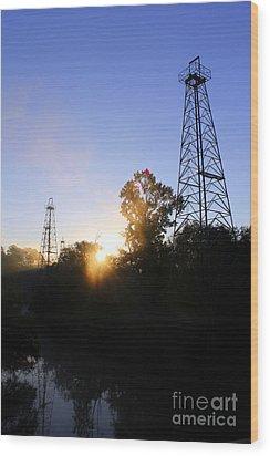 Sunrise On The Sabine Wood Print