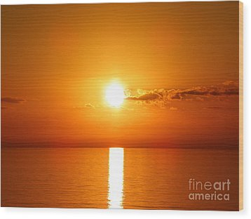 Wood Print featuring the photograph Sunrise Orange Skies by Eve Spring