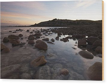 Sunrise Over A Rocky Boulder Bay Wood Print by Brooke Whatnall