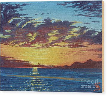Wood Print featuring the painting Sunrise Over Gonzaga Bay by Dumitru Sandru