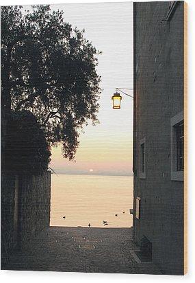 Sunrise Over Lake Garda Wood Print by Vikki Bouffard