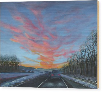 Sunrise Over The Highway Wood Print