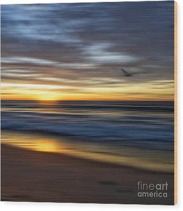 Sunrise Over The Ocean Wood Print by Diane Metz