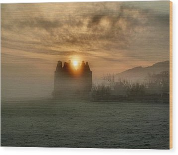 Sunrise Over The Tower Wood Print by Debra Collins