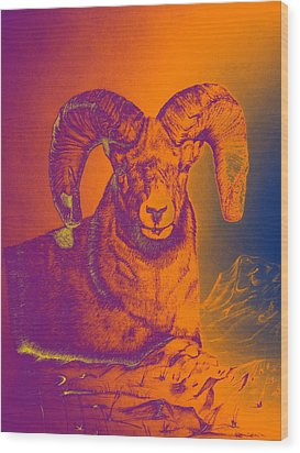 Sunrise Ram Wood Print by Mayhem Mediums