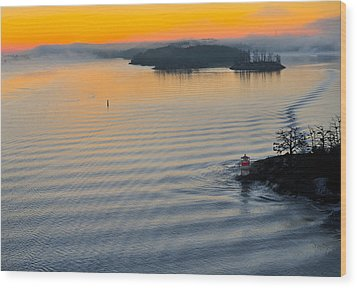 Wood Print featuring the photograph Sunrise Ryssmasterna Lighthouse Sweden by Marianne Campolongo