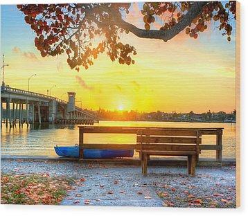 Sunrise Seista Drive Horizontal Wood Print by Jenny Ellen Photography