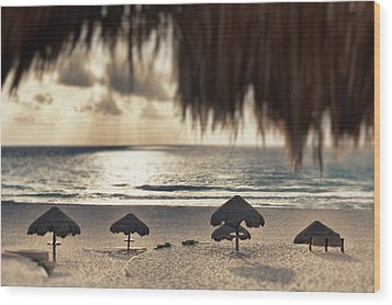 Sunrise Viewed From The Beach Wood Print by Bryan Mullennix