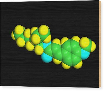 Sunscreen Chemical Molecule Wood Print by Dr Tim Evans