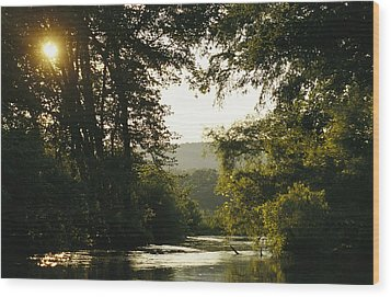 Sunset Above A Riparian Forest Wood Print by Raymond Gehman