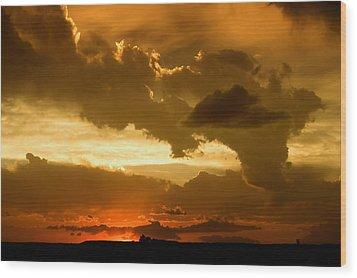Sunset After The Storm Wood Print by Ellen Heaverlo
