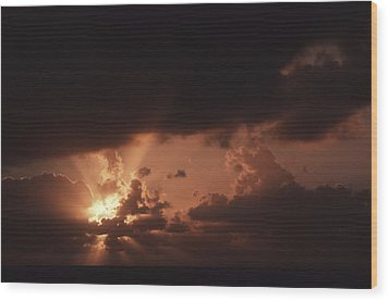 Sunset And Clouds Over Water Wood Print by Ira Block