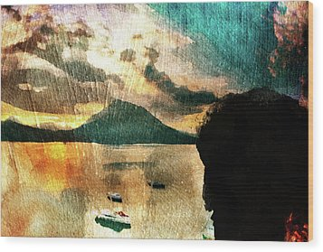 Wood Print featuring the digital art Sunset And Fear by Andrea Barbieri