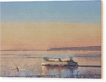 Sunset And Ferry Wood Print by Arthur Kuntz