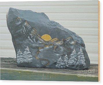 Sunset And Mountains Wood Print by Monika Shepherdson
