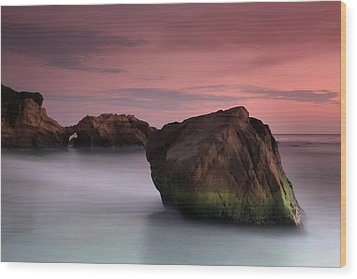 Sunset At Arch Rock Wood Print by Dave Sribnik
