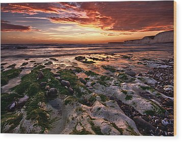 Sunset At Birling Gap Wood Print by Mark Leader
