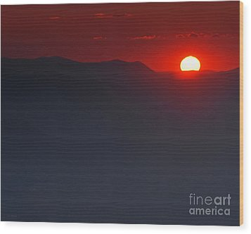 Sunset At Brasstown Bald Wood Print by Nature Scapes Fine Art