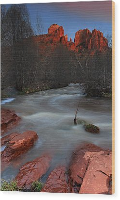 Sunset At Cathedral Rock Wood Print by Dave Sribnik