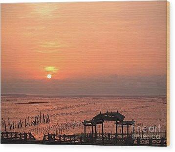 Sunset At Cigu Bay Wood Print by Yali Shi
