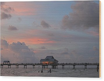 Sunset At Clearwater Beach Wood Print