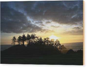 Sunset At Ecola Point Wood Print by Steven A Bash