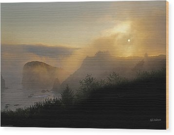 Wood Print featuring the photograph Sunset At Harris Beach by Mick Anderson