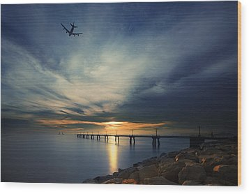 Wood Print featuring the photograph Sunset At Hong Kong Airport China by Afrison Ma