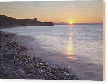 Sunset At Kilve Beach, Somerset Wood Print by Nick Cable
