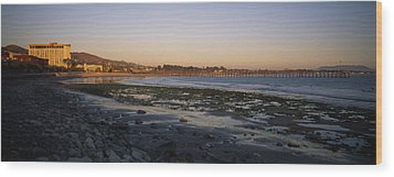 Sunset At Low Tide On Ventura Beach Wood Print by Rich Reid
