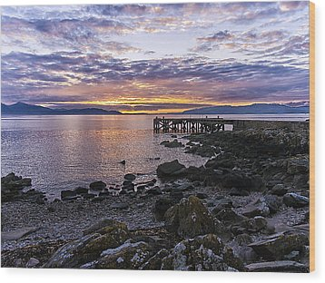 Sunset At Portencross Jetty Wood Print by Fiona Messenger