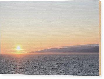 Sunset At Sea Wood Print