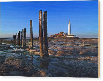 Sunset At St. Mary's Lighthouse Wood Print by Michael Oakes