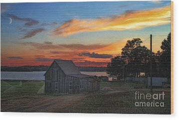 Wood Print featuring the photograph Sunset At The Bog by Gina Cormier