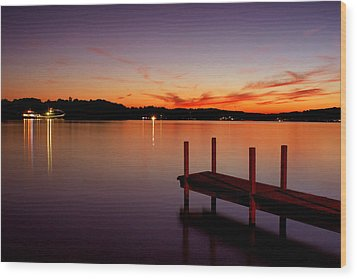 Wood Print featuring the photograph Sunset At The Dock by Michelle Joseph-Long