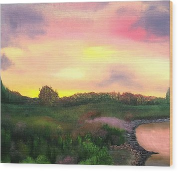 Sunset At The Lake Wood Print by Amity Traylor