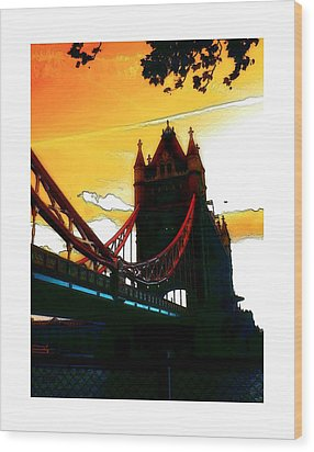 Sunset At Tower Brigde Wood Print by Steve K