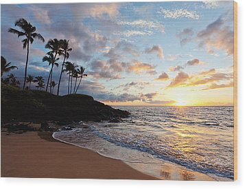 Sunset At Ulua Beach Wood Print