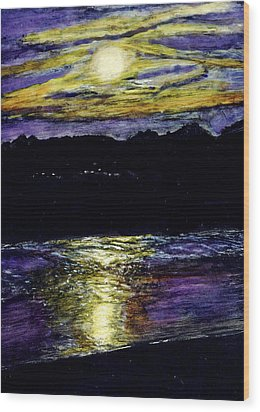 Sunset At York Maine Wood Print by Robert Goudreau