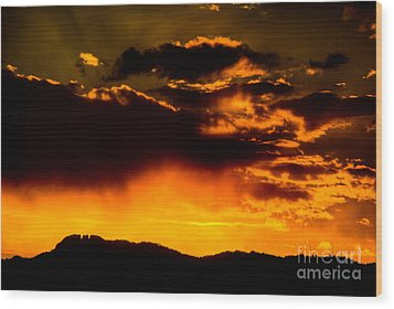 Sunset Behind Horsetooth Rock Wood Print by Harry Strharsky