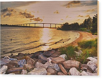 Wood Print featuring the photograph Sunset Bridge by Kelly Reber