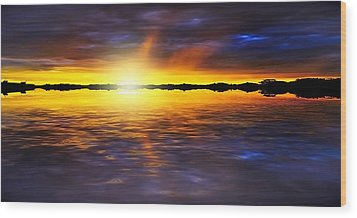 Sunset By The River Wood Print by Svetlana Sewell