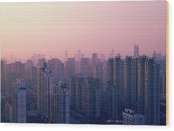 Sunset City Pink Wood Print by Min Wei Photography
