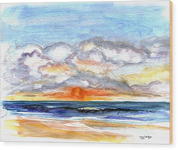Wood Print featuring the painting Sunset Clouds by Clara Sue Beym