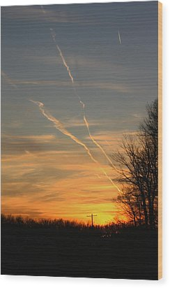 Sunset Cross Wood Print
